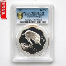 2007 China lunar pig flower shape 1oz silver coin PCGS PR69