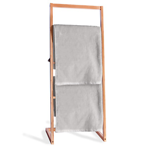Bamboo Freestanding Towel Rack Drying Stand & Holder with 4 Clothes Rails M&W