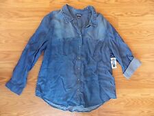 NWT Womens Terre Bleue Dark Wash Blue Denim Shirt Long Sleeves S Small