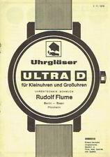 Flume System Ultra D Uhrgläser Kleinuhren Großuhren Uhren Prospekt 1978