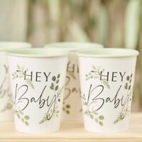 Hey Baby Cups Botanical Shower Table Decorations Rustic Greenery Mum To Be