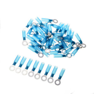50Pcs M6 Ring 16-14AWG Blue Heat Shrink Wire Connectors Waterproof Seal Terminal