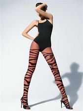 New Wolford Tiger Pop Tights Pantyhose Black/Black Small 18867 *RARE*