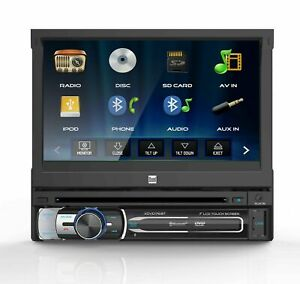 """Dual 7"""" 1 DIN In-Dash Bluetooth DVD  CD Receiver w/  Flip-Out Touchscreen"""