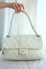 VERIFIED Authentic RARE Chanel Quilted Leather Expandable Jumbo Flap Bag