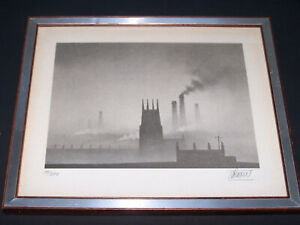 Trevor Grimshaw Church & Chimneys - Limited Edition Lithograph Numbered & Signed