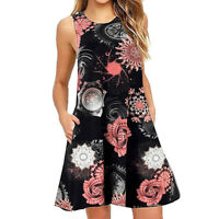 Womens Summer Casual Sleeveless Floral Printed Swing Dress Sundress with Pocket