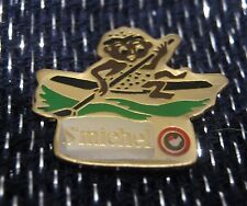 Great advertising pin badge St Michel Man in canoe Biscuiterie France