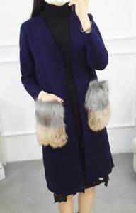women winter cashmere coat with big fur pocket ladies cardigan outwear B47