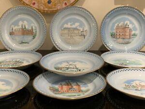 Bing & Grondahl Porcelain BIG36 Denmark 10 Historical Buildings Dessert Plates