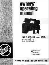 Marvel Horizontal Band Saws 15 Amp 15a Operators Manual