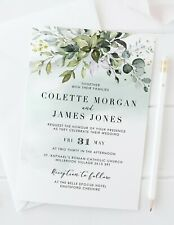 10 PERSONALISED WEDDING INVITATIONS - GREENERY - MATCHING COLLECTION AVAILABLE