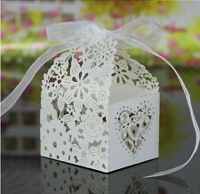 20 x White Heart Wedding Bomboniere Candy Box Treat Sweets Favours