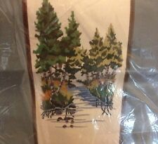 "Wooded Stream Crewel Kit 10""x20"" Wonderart Forest Tree Nature Creek Vtg Scenery"