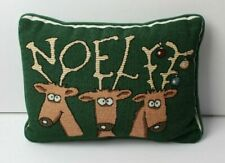 "Noel Reindeer Tapestry Christmas Throw Pillow 9 x 12.5"" Holiday Decoration"