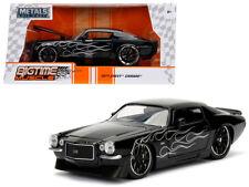 1971 Chevy Camaro Die-cast Car 1:24 Jada 8 inch Black w Flames