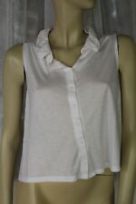 SIZE XS DOTTI WHITE COLLARED CROPPED BUTTON FRONT TOP 🍡ANY 5 POST FREE