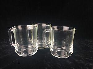 Set of 3 Duralex France Stackable 10oz. Clear Glass Mug For Hot Beverages