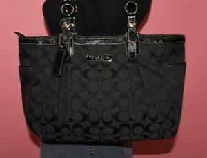 COACH Black Signature Jacquard Patent Leather E/W Tote Shoulder Purse Bag 15146