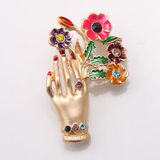 Hot Fashion Colorful Gem Stone Crystals Gold Lady's Hand Pin Brooch