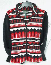 Lauren Ralph Lauren Womens Jacket Red Ivory Black Geo-Print Long Sleeves Size L