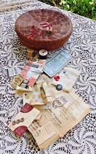 ANTIQUE 10 INCH WICKER SEWING BASKET / BOX FILLED W/ RANDOMNESS