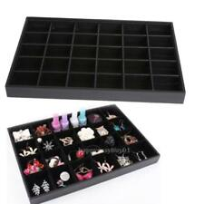 30 Grid Jewelry Organizer Display Box PU Velvet Tray Necklace Ring Show Case New
