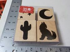 CLOSE TO MY HEART CTMH DESERT NIGHT COYOTE CACTUS MOON WOOD RUBBER STAMPS A6309
