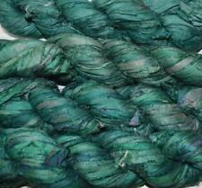 100g Sari Silk Ribbon craft ribbon yarn, jewelry making Teal Green