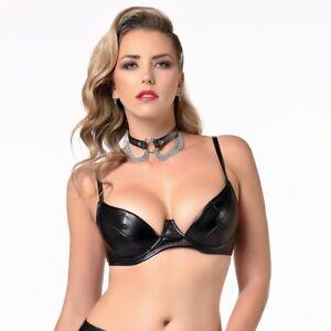 Patrice Catanzaro - Sg - Soutien gorge sexy coquin en tissu faux cuir noir.