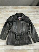 URBAN LEATHER MEN SIZE SMALL BLACK GENUINE LEATHER FULL ZIP JACKET EUC