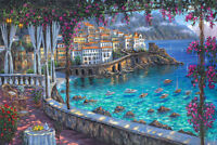 Amalfi coast scenery Oil painting Giclee Art Printed on canvas L1979