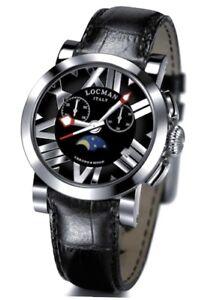 Locman Toscano CHRONO & MOON Orologio In Pelle Nero Con Fasi Lunari e Cronografo