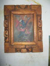 ORIGINAL ANTIQUE RETABLO ON TIN WITH IMAGE OF ARCHANGEL MICHAEL VINTAGE FRAME