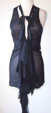SHARON WAUCHOB Black Silk Low Cut Drape Tie Tunic Top 40  6  8