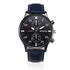 Mens Luxury Classic Quartz Watch Leather Band Analog Stainless Steel Wrist Watch