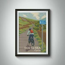 More details for sea to sea, c2c, coast to coast cycling travel poster - bucket list prints