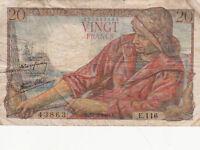 BILLET BANQUE 20 Frs PECHEUR 10-02-1944 L E.116 état voir scan