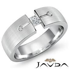 Princess Cut Round Diamond Mens Half Wedding Band 18k White Gold 7mm Ring 0.30Ct