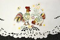 "Easter Embroidered Embroidery 72"" Round Tablecloth Chicken Rooster Egg 6 Napkins"