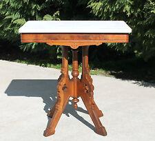 c1880 Walnut & Burl Eastlake Victorian Marble Top Lamp Side Parlor Table
