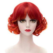 New Gradient Red Harajuku Hair Wig Short Wavy Curly Halloween Cosplay Anime Hair
