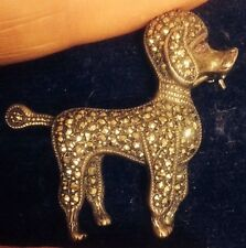 VINTAGE STERLING SILVER  ENGLISH MARQUESITE,MARCASITE POODLE DOG PIN BROOCH £78