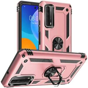 For Huawei P Smart 2021 Case, Slim Shockproof Stand Phone Cover + Tempered Glass