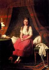 Oil painting johann georg meyer von bremen - contemplation girl seated on bed @