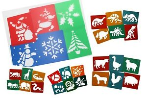 Washable plastic stencils christmas dinosaurs farm wild animals bug easter