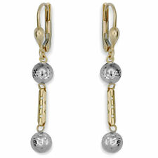 Leverback Multi-Tone Gold Fine Earrings without Stones