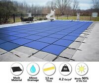 HPI Rectangle BLUE MESH In-Ground Swimming Pool Safety Cover w/ 4'x8' End Step