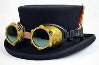 DeadMan Junior Top Hat With Retro Goggles 100% Wool HandMade for Mardi Gras fest