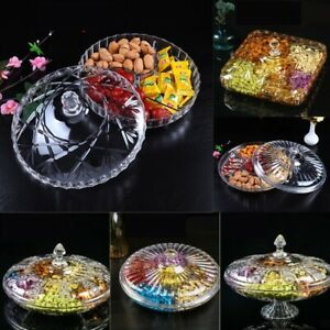 Decorative Plastic Round Snack Plate Transparent Peanut Candies Table with Cover